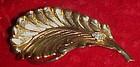Vintage Jeri-Lou Gold leaf scarf clip rhinestone accent