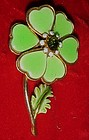 Retro enamel lime green flower pin with heart petals