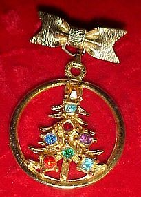 Rhinestone Christmas tree pin with bow