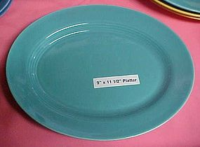 HLC Harlequin  turquoise oval platter 9 x 11 1/2