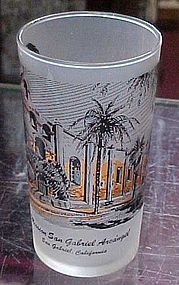 California frosted souvenir glass Mission San Gabriel