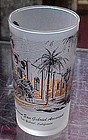 California frosted souvenir glass Mission San Gabriel