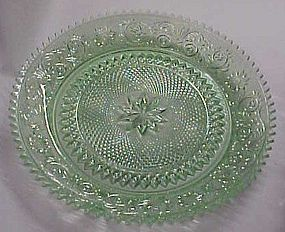 Tiara chantily green sandwich glass round platter 12.25