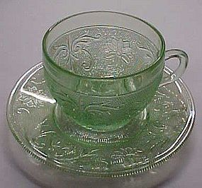 Tiara chantilly green sandwich glass cup and saucer