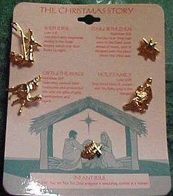 Set of The Christmas Story pins goldtone birth of Jesus