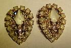 Vintage Hobe' rhinestone moonstone clip earrings