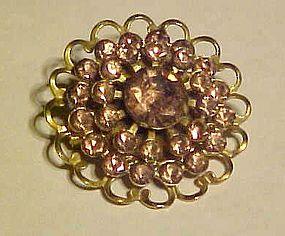 Vintage smoky pink rhinestone pin brooch
