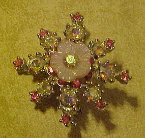 Vintage pink aurora rhinestone snowflake pin