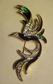 Enamel and rhinestone bird of paradise pin
