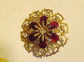Vintage red enamel and rhinestone filigree pin