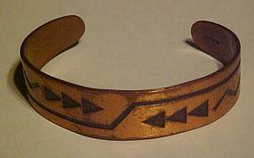 Vintage southwestern  style copper cuff bracelet