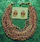 Vintage 26 strand necklace and matiching clip earrings