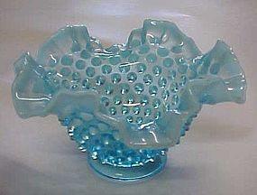 Vintage Fenton blue opalescent hobnail ruffled bowl