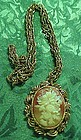 Vintage floral cameo pendant mirror w gold tone chain