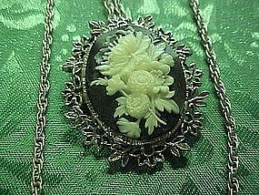 Vintage gray white faux cameo pin pendant combo w chain