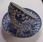 Vintage blue Phoenix bird cup and saucer JAPAN