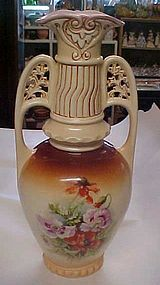 Large antique Austria marked floral pattern vase