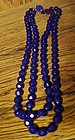 Antiquue double strand cobalt blue glass bead necklace