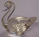 Clear glass swan paperweight