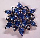 Beautiful large blue rhinestone  snowflake pin brooch