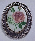 Large ceramic brooch pendant combo with pink rose