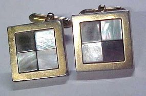 Vintage Swank cuff links with inlaid shell