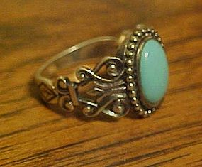 Sterling 925 NV silver and turquoise ring size 10