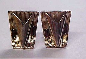 Vintage gold tone cuff links with topaz rhinestone