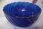 Duralex France cobalt blue swirl cereal soup bowl