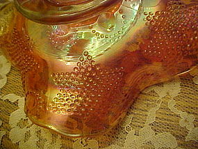 Fenton Beaded stars marigold carnival glass bowl 1905
