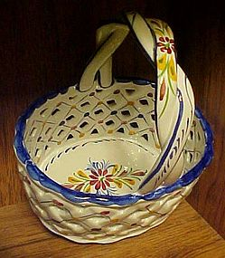 Hand painted ceramic woven basket from Portugal