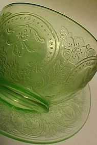 Indiana Green depression Horseshoe cup and saucer