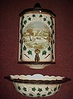 Three pc ceramic Lavabo  wall pocket  Currier & Ives