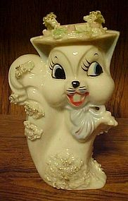 Vintage Spaghetti trim Squirrel figurine with fancy hat