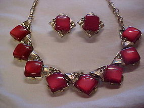 Coro red lucite moonglow choker and clip earrings