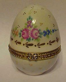 Hand painted florals porcelain egg trinket box