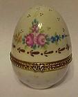 Hand painted florals porcelain egg trinket box