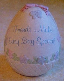 "Russ Spring Treasure Porcelain egg ""Friends"""