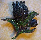 Vintage blue and green rhinestone tulip fur pin