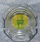 Vintage Holiday Inn glass ashtray green & yellow logo
