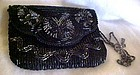 Vintage Christian Aujard black glass beaded purse