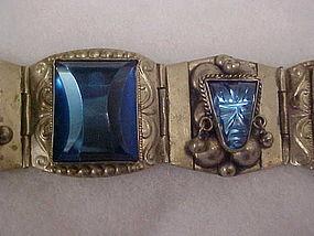 Vintage Taxco sterling bracelet magnificent blue stones