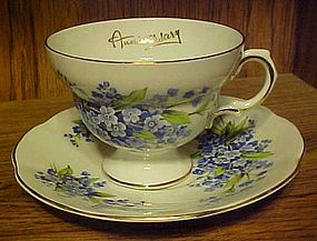 Vintage Rosina forget-me-nots cup n saucer ANNIVERSARY