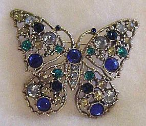 Vintage rhinestone butterfly pin in blue & green WOW!