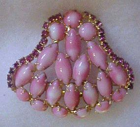 Vintage Pink Bell brooch with rhinestones