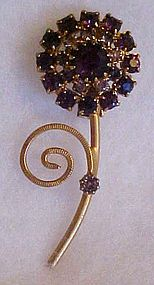 Vintage purple amethyst rhinestone flower pin