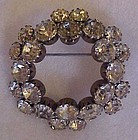 Vintage crystal rhinestone circle wreath pin