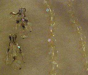 Vintage Aurora Borealis  crystal necklace and earrings