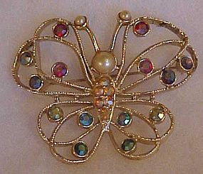 Vintage Emmons  rhinestones and pearls butterfly pin