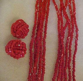 Old 6 strand red glass bead necklace with earrings set